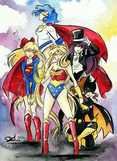 Sailor Senshi Superheroes - Mercury is Power Girl, Venus is Supergirl, Mars is Zatanna, Jupiter is Batgirl, and Sailor Moon is Wonder Woman Sailor Mars, Arte Sailor Moon, Sailor Moon Fan Art, Sailor Neptune, Sailor Scouts, Sailor Moon Crystal, Anime Comics, Dc Comics, Crossover