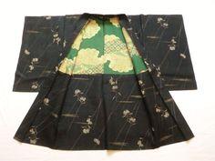 Japanese Antique Kimono Haori Silk Black Flower P083113   eBay
