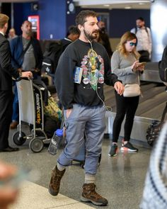 Shia LaBeouf Wears a Travelers Look Returning From His Alone Together Art Project in Finland | UpscaleHype
