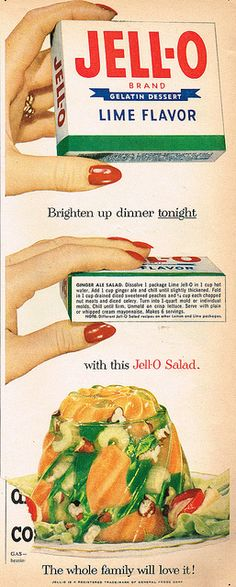 Vintage Jell-O advertisement from 1950s: Cantaloupe melon, celery, nuts, lime jell-o, and ginger ale - yuk!