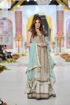 Pakistani dress - designer wear, long Kamez Lehnga, reception wear