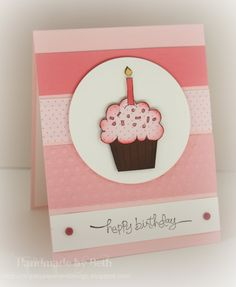 Crazy for Cupcakes, the chocolate cupcake and popped it up on the circle of Whisper White card stock, Pink Pirouette is the card base and added random widths of various papers to create a simple background.