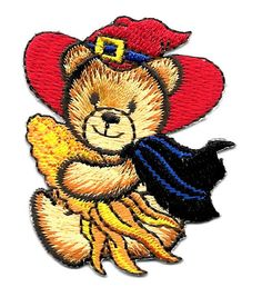 Bear - Witch - Halloween - Autumn - Embroidered Iron On Applique Patch