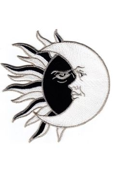 """""""Even when someone is miles away, always remember that we are under the same sky, looking at the same sun, moon, and stars."""" Sun and Moon Iron On Patch 4""""×4"""" conjoined black sun and white crescent moo"""