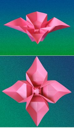 Fiore a quattro petali - Flower with 4 petals. Origami from one square. Designed and folded by Francesco Guarnieri, September 2007. Link to the diagrams: http://guarnieri-origami.blogspot.it/2013/01/fiore-quattro-petali.html