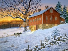 Last One In John Sloane lone cow heads to the barn in evening Farm Pictures, Scenery Pictures, Winter Pictures, Time Pictures, Funny Pictures, Painting Snow, Winter Painting, Winter Art, Winter Time