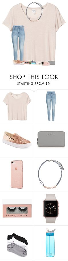 """••"" by mackenzielacy814 on Polyvore featuring Monki, H&M, Wanted, Givenchy, NAKAMOL, adidas, CamelBak and ALPHABET BAGS"