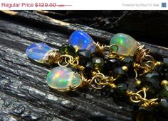 40 OFF SALE fire opal and green tourmaline earrings by BeijoFlor, $77.40