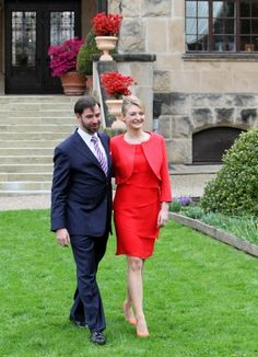 Prince Guillaume, Hereditary Grand Duke of Luxembourg with his wife Stéphanie, Hereditary Grand Duchess of Luxembourg