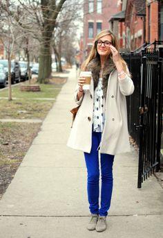 blue pants and polka dots