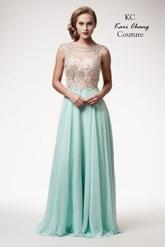 Kari Chang KC42 Beaded High Neck Top Chiffon Prom Dress