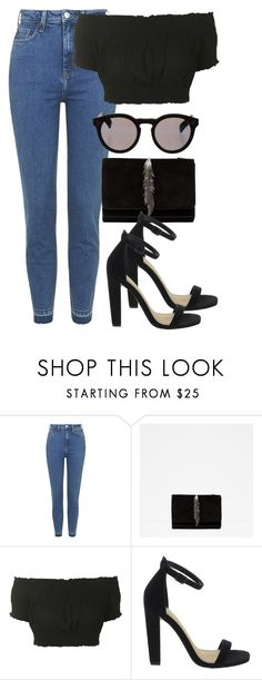 """i don't care"" by tish-nyu ❤ liked on Polyvore featuring Topshop, Zara, ASOS and Illesteva"