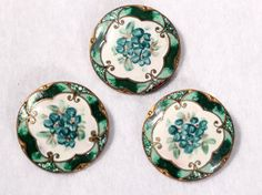 Ravishing Victorian Enamel Button Set Hand Paint Flowers Shades Of Green Collectibles French