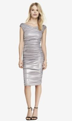 METALLIC SURPLICE WRAP RUCHED MIDI DRESS from EXPRESS | perfect for a holiday party ...
