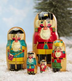 Handmade wooden nesting dolls depicting classic Christmas nutcrackers are handmade in Russia Tallest nesting doll measures 4 8243 tall All hand Nutcracker Christmas, Christmas Figurines, Retro Christmas, Christmas Crafts, Christmas Ornaments, Xmas, Felt Christmas, Christmas Stuff, Christmas 2019