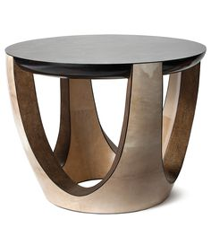 Superbe Side Table, SHAPE M ANTIQUE, Gold Leaf Antique Stingray, Antique And Ebony  Black Parchment, Gold Stone And Ebony.