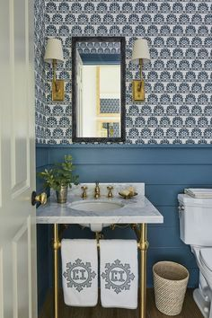 Blue and white powder room with painted wainscot and Meg Braff wallpaper and monogrammed Leontine Linens by Heather Chadduck Interiors at the Southern Living Idea House 2019 Luxury and Cozy Farmhouse Living Room Decor Ideas Powder Room Wallpaper, Of Wallpaper, Small Bathroom With Wallpaper, Southern Living Homes, Beach House Decor, Home Decor, Beach Houses, Beach House Furniture, Beach House Bathroom