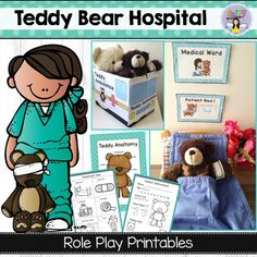 Teddy Bear Hospital Dramatic Play can be great for children in any hospital experience- inpatient, outpatient, siblings and friends of a sick child. Dramatic play can help children work out their emotions in a safe, familiar way. Measurement Activities, Literacy Games, Motor Activities, Hands On Activities, Preschool Activities, Preschool Kindergarten, Senses Preschool, Senses Activities, Preschool Printables