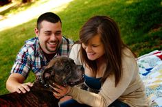 """""""This is one of our engagement pictures. Our son (aka dog) Ryder was able to be in our pictures with us. He is very much a huge part of our family, so this is our very first family picture """" - Ben & Skylar"""