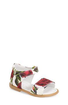 Dolce&Gabbana Floral Print Sandal (Baby, Walker & Toddler) available at #Nordstrom