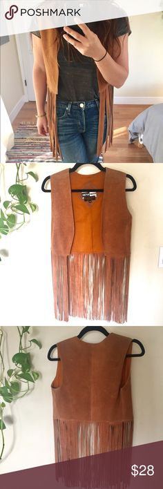 Vintage fringe suede leather vest Fringe leather suede vest. Size M. Good condition - suede is not perfect and a few strands are shorter than the rest, but overall pretty amazing' Really great vintage piece. 🌻✌🏼🌈 mona mode Jackets & Coats Vests