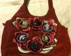 Romantic Victorian Vampire Steampunk Goth Downton Abbey Satin Purse Roses Burgundy Costume Accessory Prop Victorian