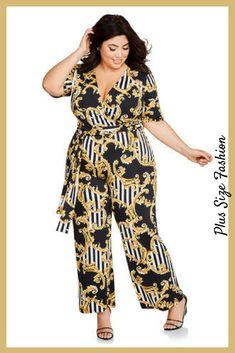 cfa893395c6 Plus Size Striped Gold Laurel Print Belted Jumpsuit