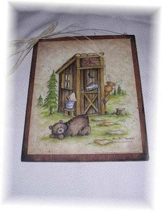 The Little Store Of Home Decor Still Waiting Bear Moose Country Bath Outhouse Lodge Cabin Sign Wooden Bathroom Wall Signs Country Signs, Country Decor, Wooden Bathroom, Bathroom Wall, Bathroom Ideas, Bath Sign, Country Baths, Outhouse Decor, Cabin Signs