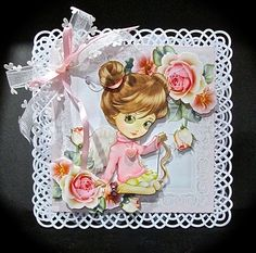 Beautiful Girl With Rose Spray 8x8 Mini Kit on Craftsuprint - View Now!