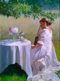 """""""Under the Dogwood""""  Dennis Perrin oil on linen  24"""" x 18""""  contact perrinpainter@gmail.com"""