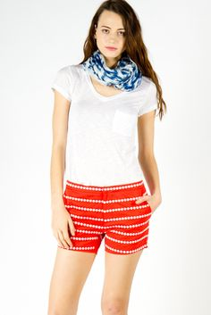 Lauren Embroidered Twill Shorts in Red