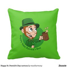 Happy St. Patrick's Day cartoon Throw Pillow