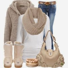 Stylish cardigan scarf white blouse jeans warm shoes and handbag forfall