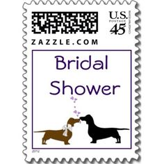 Dachshunds Bridal Shower Stamps stamp