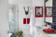 Cottage bathroom - love the clean white color with pops of red kellyelko.com