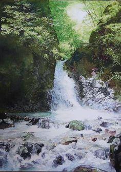 "Artist Keiko Kobayashi 日本の滝「風拳の滝」水彩画サイズ41×31センチ Size 41 × 31 cm watercolor ""waterfall of wind fist"" waterfall of Japan"