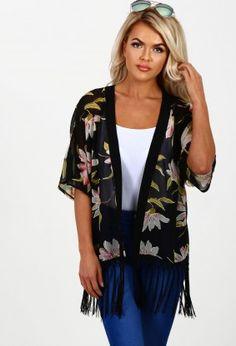 Happy Hour Black Multi Floral Chiffon Fringed Kimono
