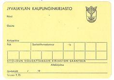 Pahvinen kirjastokortti 1960-70 -luvulta
