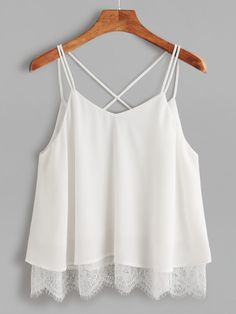 Shein Lace Trim Crisscross Back Cami Top - Shein Lace Trim Crisscross Back Cami. - Shein Lace Trim Crisscross Back Cami Top – Shein Lace Trim Crisscross Back Cami Top Source by blinkque – Source by jeryymay - White Camisole Top, White Cami Tops, White Crop Top Tank, Cropped White Shirt, Cami Crop Top, Crop Tops, Cropped Tank Top, Crop Shirt, Look Fashion