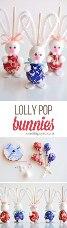 These lolly pop bunnies are SO CUTE and they're really simple to make! They're adorable treats for an Easter basket, or even for the Easter table! Such a fun spring craft idea! treats for daycare kids Lolly Pop Bunnies Easter 2018, Easter Party, Easter Gift, Hoppy Easter, Easter Bunny, Spring Crafts, Holiday Crafts, Easter Projects, Garden Projects