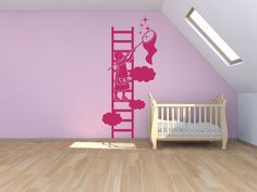 Sticker ombre chinoise petite fille sur échelle - http://www.enchanted-colors.com