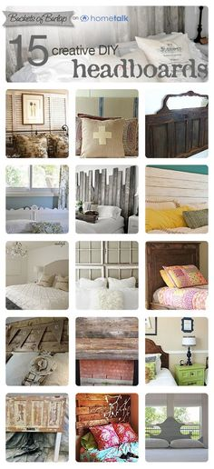 DIY:: #15 Beautiful Budget Headboard Projects ! All Of These Would Make Timeless Farmhouse Decor on a Dime ! Tutorials For Each !