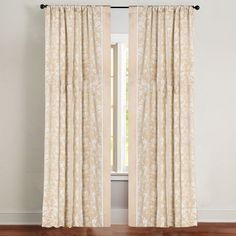 Green Jennifer Taylor Makita Left Curtain Panel (Left Panel), Beige, Size 120 Inches (Polyester, Floral)