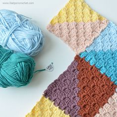 How to join as you go in C2C (corner-to-corner) crochet. By www.lillabjorncrochet.com