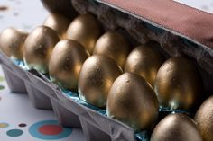 Golden chocolate Easter eggs - or would be fun for Charlie and the Chocolate Factory party.