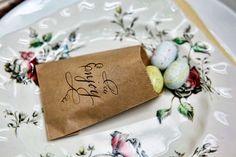 kraft paper bags + chocolate Easter eggs