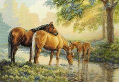 Gallery.ru / Фото #9 - DIM Horses by a Stream - elypetrova