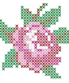 Rose flower perler bead pattern - use this pattern for cross-stitch wall painting :) Cross Stitch Rose, Cross Stitch Flowers, Cross Stitch Charts, Cross Stitch Designs, Cross Stitch Patterns, Loom Beading, Beading Patterns, Embroidery Patterns, Flower Embroidery