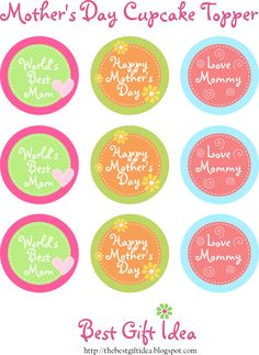 First freebies from thebestgiftidea blog, Free Printable Cupcake Toppers Mother's Day . I create three different designs of fancy cupcake t...