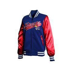 Women's Franchise Club Kansas Jayhawks Sweetheart Varsity Jacket, Size: Medium, Blue